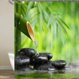 RIDEAU DE DOUCHE Rideau de douche Zen Bambou galet et eau 3D effect