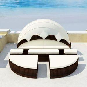 Ensemble table et chaise de jardin Lit de jardin en Salon avec parasol Noir Résine tr