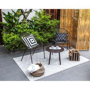 Salon bas de jardin Salon de jardin en métal 2 personnes ORIA Noir