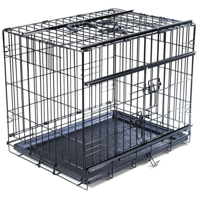 VADIGRAN Cage métallique pliable Premium - 56 x 33 x 41 cm - Noir - Pour chien