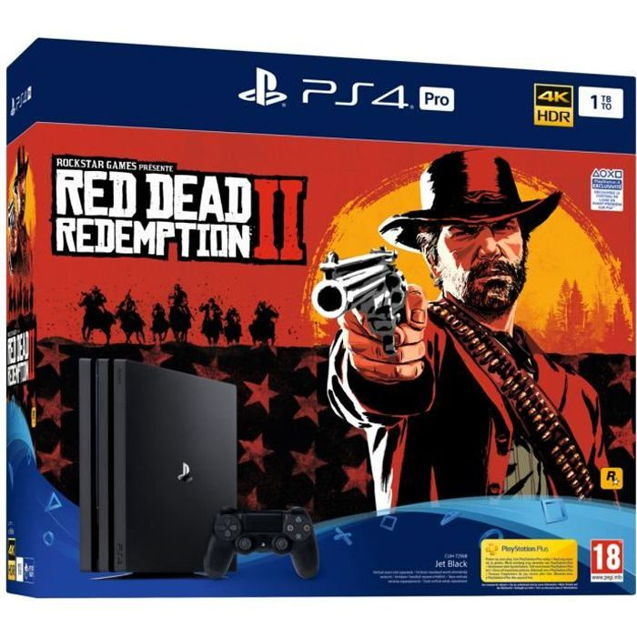 CONSOLE PS4 Console PS4 Pro 1To Noire/Jet Black + Red Dead Red
