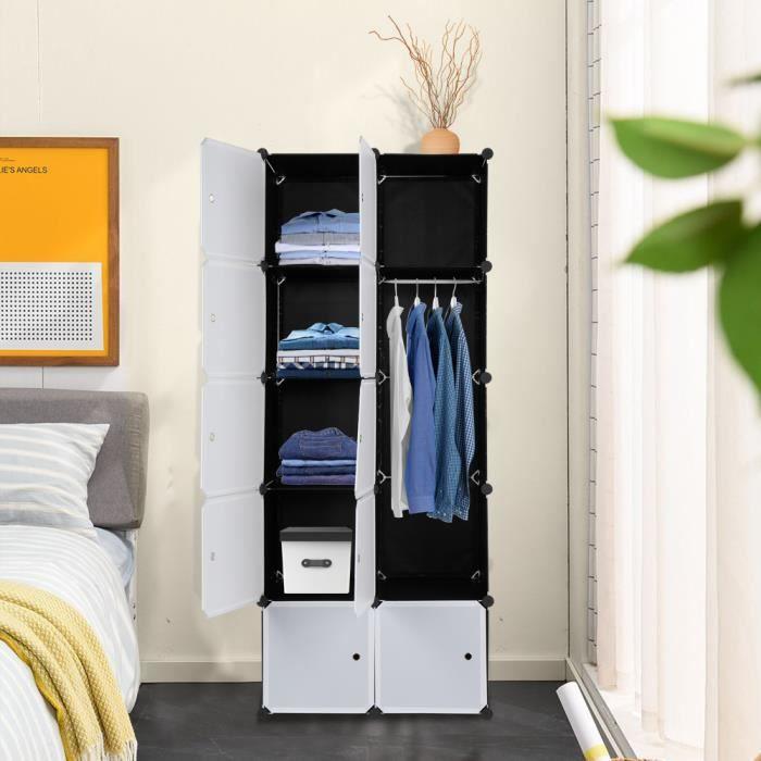 Armoire de Chambre Armoire à rangement,DIY 10 Cubes 5 étages