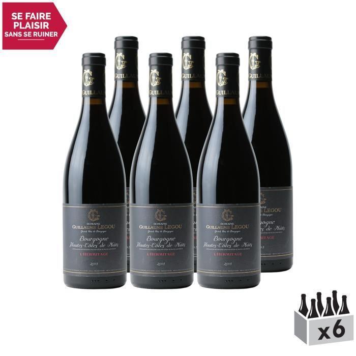 Bourgogne Hautes Côtes de Nuits L'Hermitage Rouge 2018 - Lot de 6x75cl - Domaine Guillaume Legou - Vin AOC Rouge de Bourgogne -