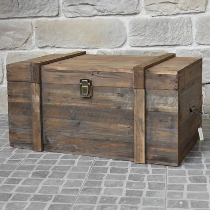 Grand Coffre Malle en Bois Style Ancien 90 cm x 56 cm x 48 cm - 1999-BIS