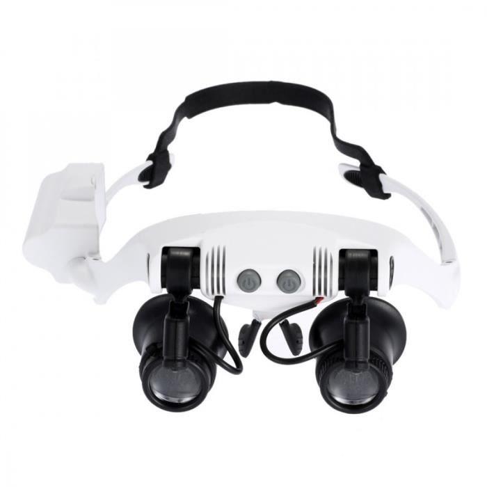 Loupe Optique - Glasses Style Magnif - Loupe frontale Lunette avec lumière LED pour réparation (grossissement x10 x15 x20 x25)