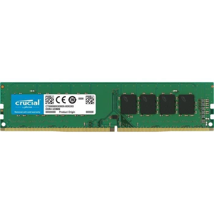 Crucial Ct8g4dfs824a 8Go (Ddr4, 2400 Mt s, Pc4 19200, Single Rank x8, Dimm, 288 Pin) Mémoire