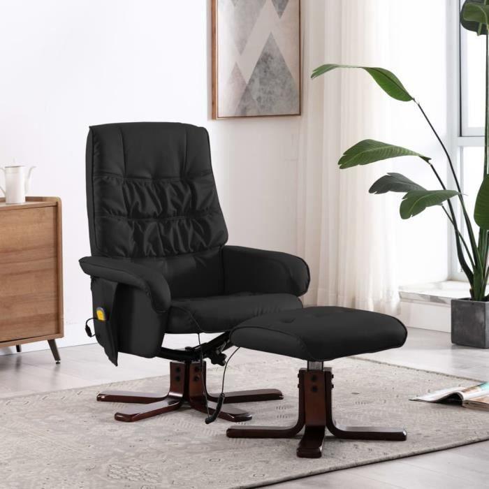 Fauteuil de massage inclinable électrique- chaise Relax Massant Relaxation - Style contemporain Fauteuil TV - avec repose-pied Noir