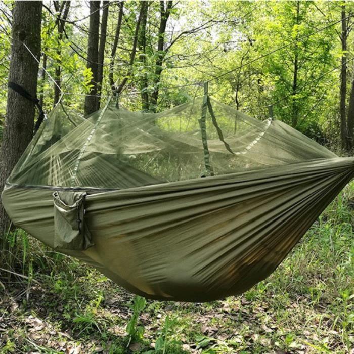 Jungle Hamac Moustiquaire Camping Voyage Parachute à Suspendre Tente de Lit ArmyGreen