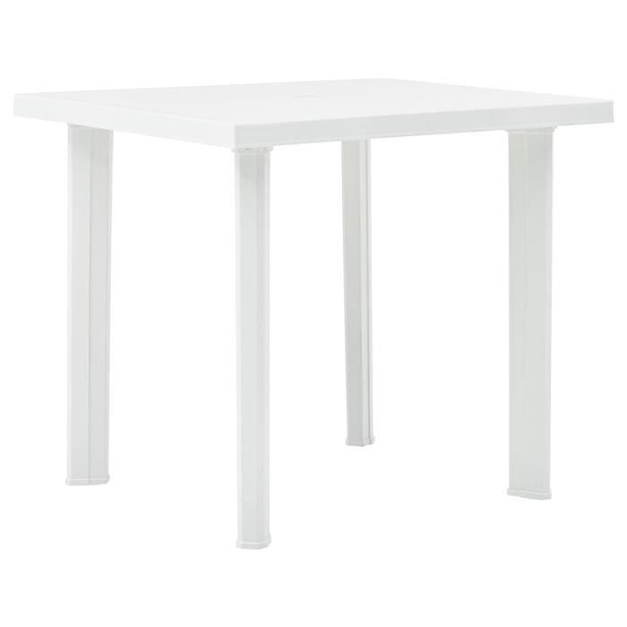 Table de jardin - Meuble de Jardin Table d'appoint Blanc 80x75x72 cm Plastique Nouveau *816244