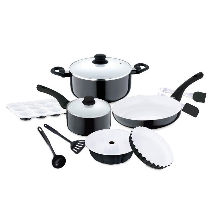 Renberg Manhattan - Sets de poêles et casseroles aluminium pressé revêtement céramique bon pour l'induction