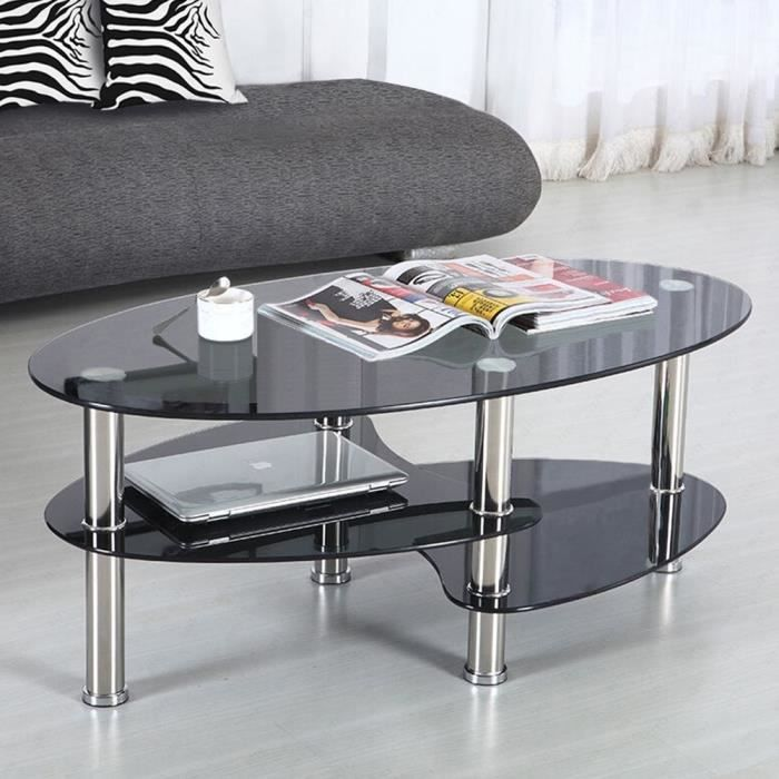 Table de Basse avec 2 étagères en Verre trempé 90x50x43cm