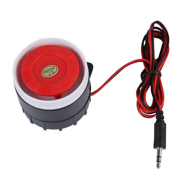 120dB 12V DC Mini-Rouge filaire Corne sirène sonore Système d'alarme Klaxon pour la maison de sécurité