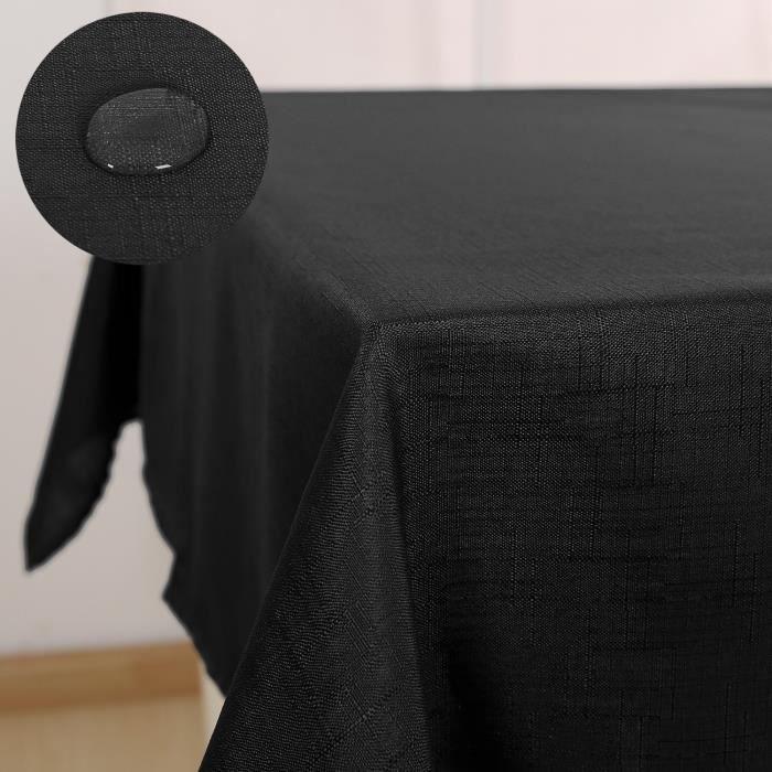 Deconovo Nappe pour Table Basse Rectangulaire Decoration Impermeable Effet Lin 130x220cm Noir
