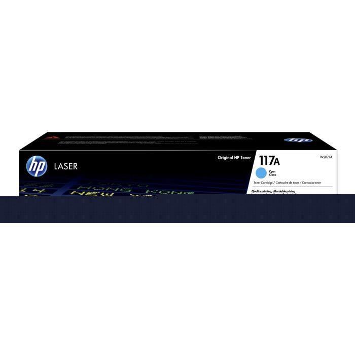 HP 117A W2071A, Cartouche de toner Cyan authentique pour imprimantes HP Laser 150 et imprimantes multifonctions HP Laser 178/179
