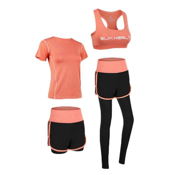 Ensemble de Vetement Sport Femme 4 Pieces T-shirt+Brassiere+Short+Legging Fitness Running