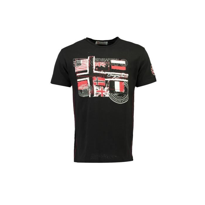 Tshirt Homme Geographical Norway Joflag Noir