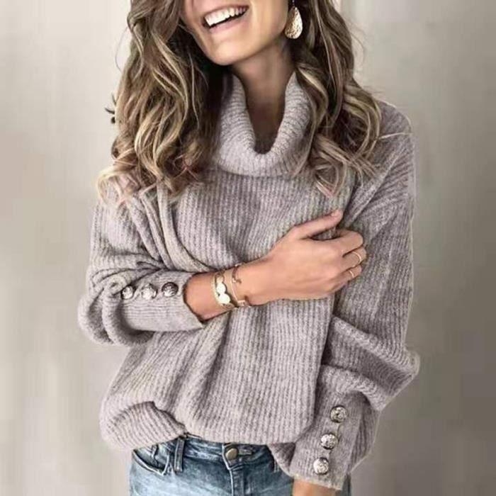 PULL - CHANDAIL Femmes Pull à col roulé Bouton à manches longues en vrac pull en tricot Tops CGJ91111615GYL2_Outomoch