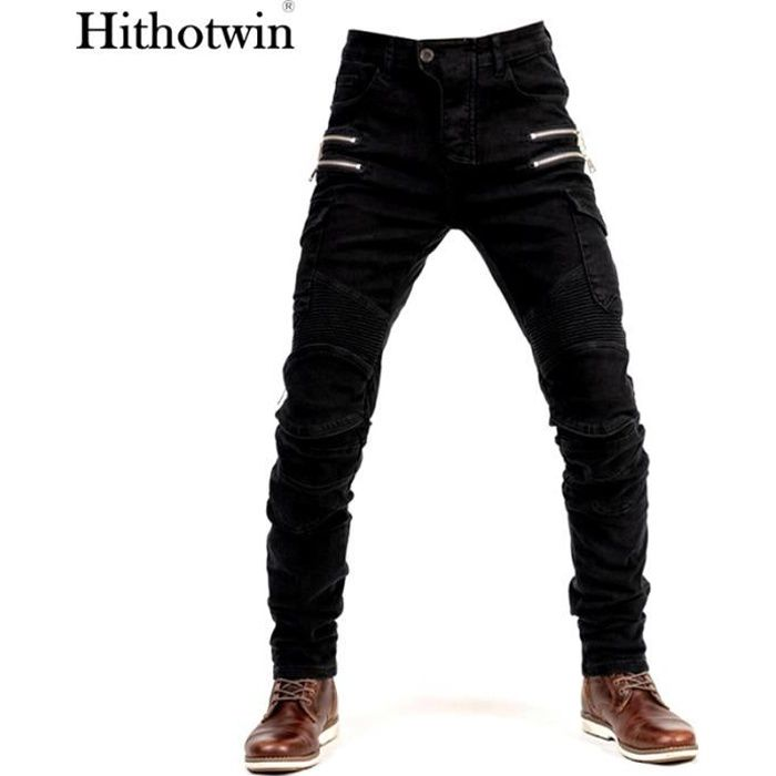 Pantalon de moto Hommes Moto Jeans Zipper Équipement de protection Pantalon de moto