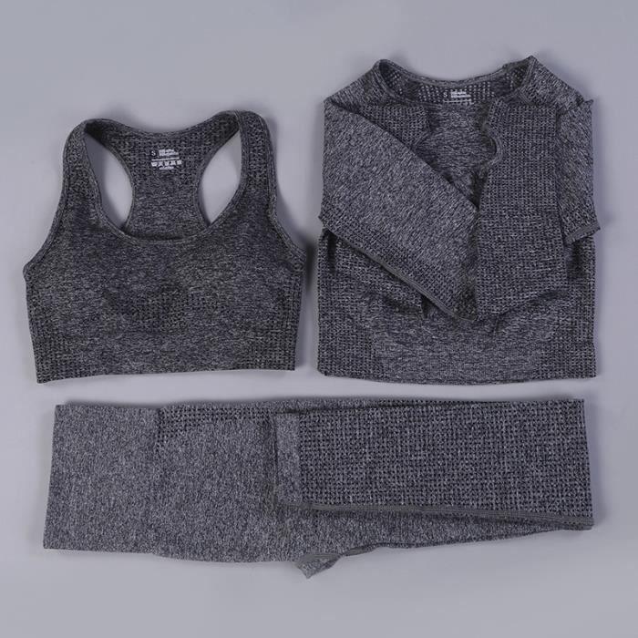 Brassiere De Sport femme - Ensemble 3 pièces Brassiere De Sport Classique mode - dark gris YH™