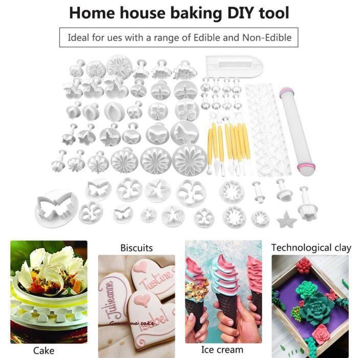 Set 68 Pièces Ustensile Patisserie Professionnelle, Outils de Modelage Fondant Kit Accessoire Cuisine DIY