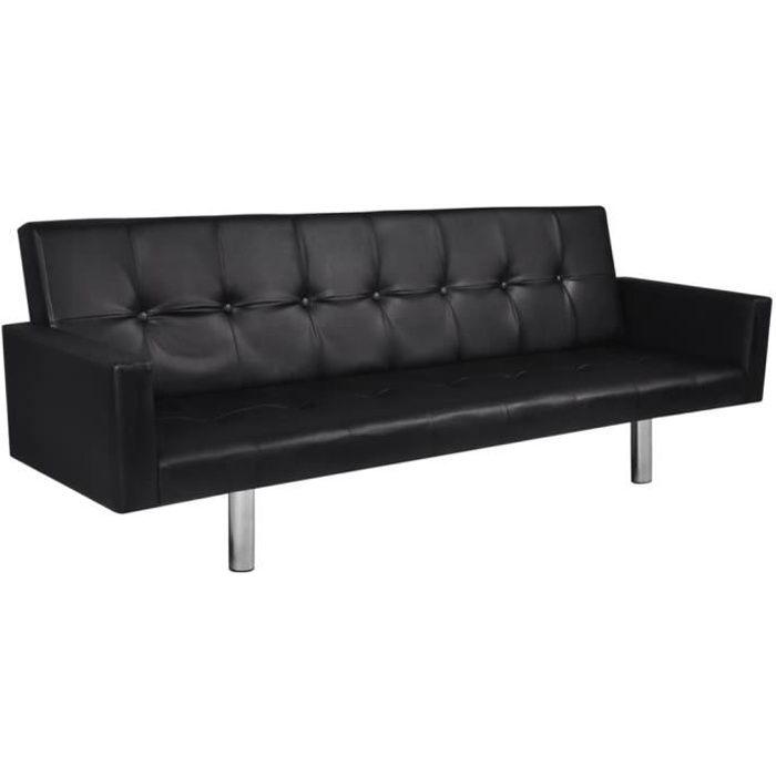 Canapé-lit Canapé droit convertible Scandinave avec accoudoir Cuir synthétique Noir