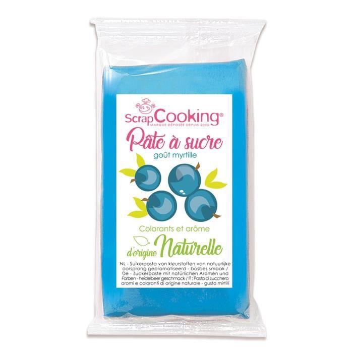 Pâte à sucre bleu goût myrtille 250g - Scrapcooking Bleu