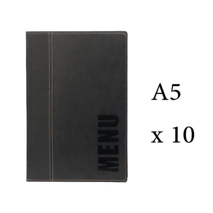 Lot 10 protège-menu Tendance format A5 couleur noir - Porte menu hôtel restaurant - Securit 6 + 2 (14 vues totales) Similicuir