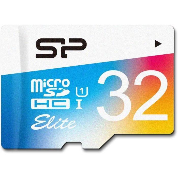 Carte Micro Sd 32Go Sdhc / Microsdxc Elite avec Adaptateur Sd Classe 10 Uhs 1, Vitesse Lecture 85Mb/S, Silicon Power