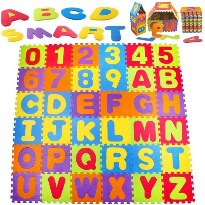 Stillcool® 36pcs Tapis PUZZLE 30x30cm en Mousse PR bébé Enfant Multicolore alphabet et chiffres Jeu éducatif