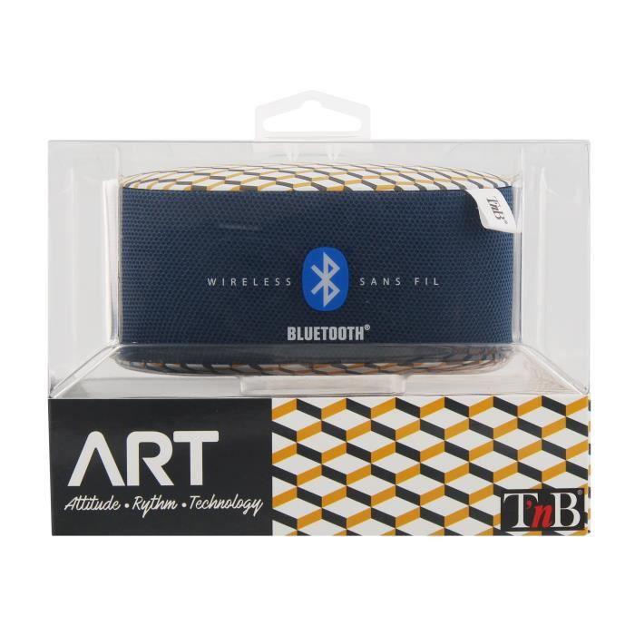 T'NB Art Geometrik Enceinte nomade bluetooth - 5W - Bleu / Jaune