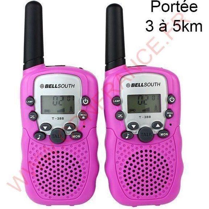 Talkie walkie 22 canaux push to talk écran LCD portée 3 à 5 km Rose