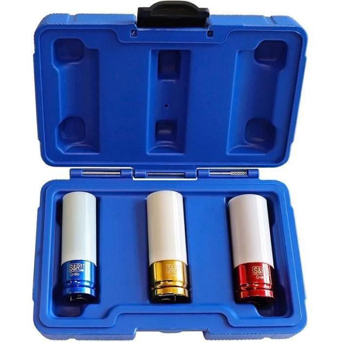 QQ15482-Set de 3 Douilles Impact (17-19-21 mm) pour Clé à Choc 1-2-. Coffret Embouts de Serrage pour Jantes Roue Voiture (3 pz Bla