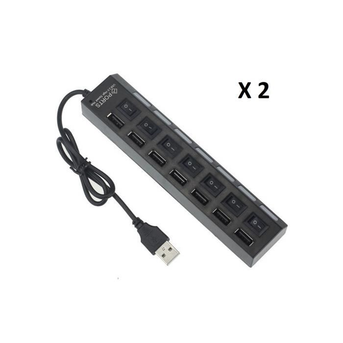 Lot de 2 multiprise hub noir 7 ports usb ind pendant avec - Tablette tactile avec port usb ...