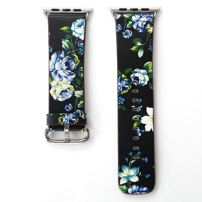 BRACELET DE MONTRE 42 MM doux PU cuir Floral fleur bracelet pour mont