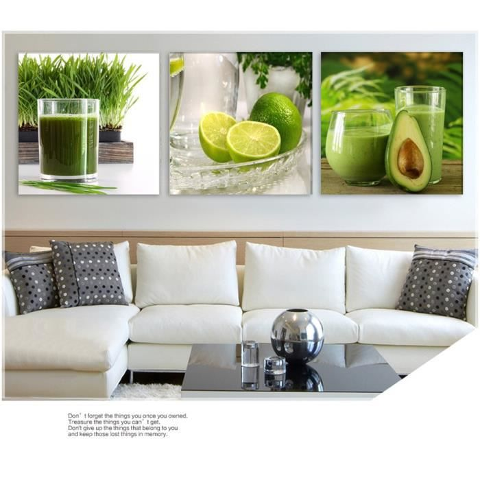 Triptyque Vert Citron Fruits Moderne Peinture Murale Toile Imprimé Citron Image Pour La Cuisine Décoration Décoration Peinture Non E