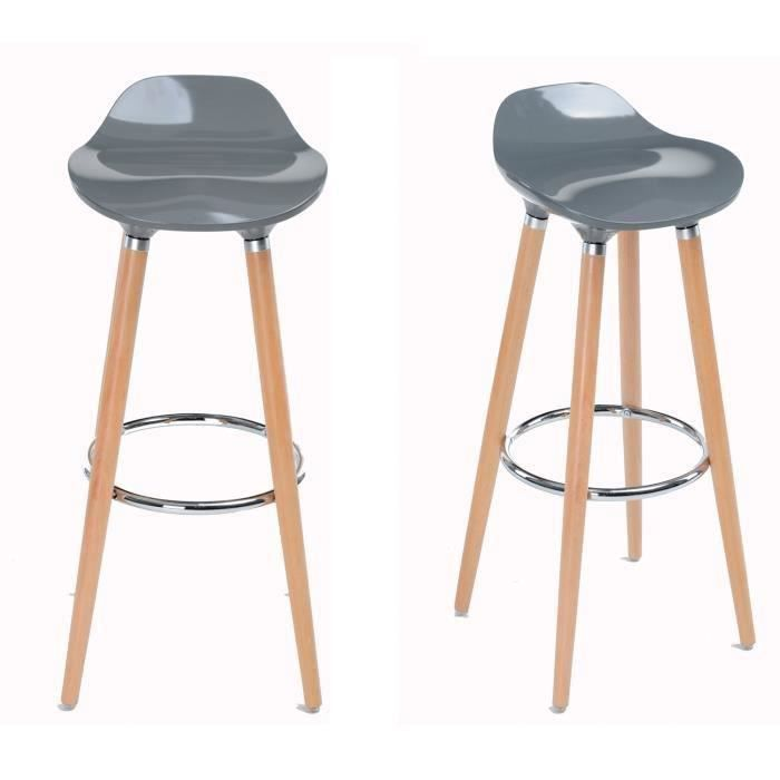 lot de 2 tabourets de bar en bois et plastique gris clair achat vente tabouret gris cdiscount. Black Bedroom Furniture Sets. Home Design Ideas
