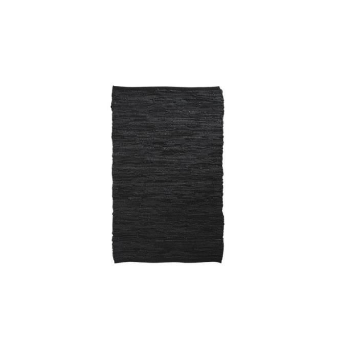 tapis descente de lit en cuir et coton noir achat. Black Bedroom Furniture Sets. Home Design Ideas