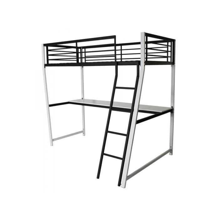 lino lit mezzanine 90x190cm noir achat vente lit. Black Bedroom Furniture Sets. Home Design Ideas
