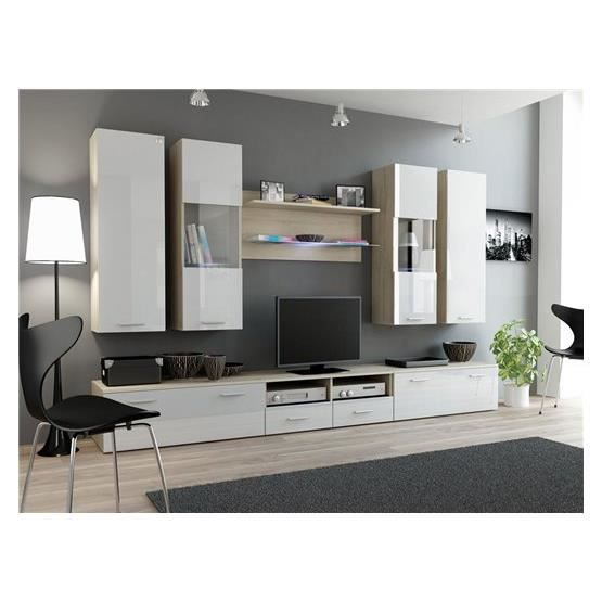 ensemble meubles tv design sirus 2 bois clair et blanc composition bois laqu achat. Black Bedroom Furniture Sets. Home Design Ideas