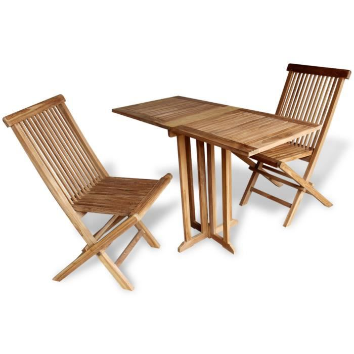 vidaXL 1 Table + 2 Chaises Pliantes Mobilier de balcon 3PCS ...