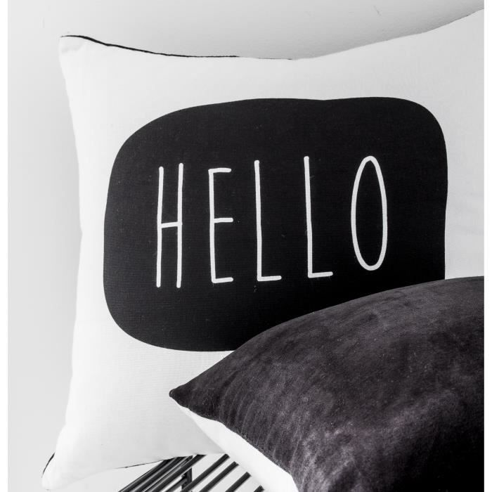 Today coussin think hello 100 coton 40x40 cm blanc et for Tapis coton noir et blanc