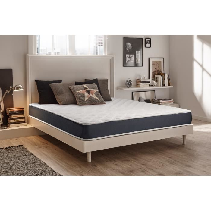 Matelas Ergolux 160x200 Cm 100 Mousse Adaptative Blue Latex