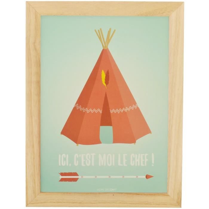 tableau cadre enfant scandinave bois naturel chef indien tipi coloris pastel achat vente. Black Bedroom Furniture Sets. Home Design Ideas