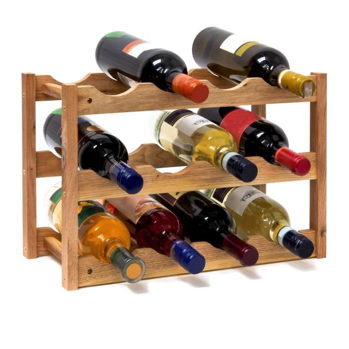 Casier à vin range bouteilles 3 étages 12 bouteilles bois étagère