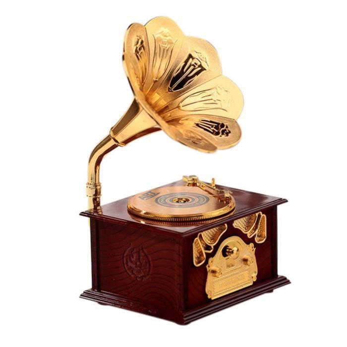 Boîte à musique en bois de Gramophone en bois Mélodie Décoration Décor