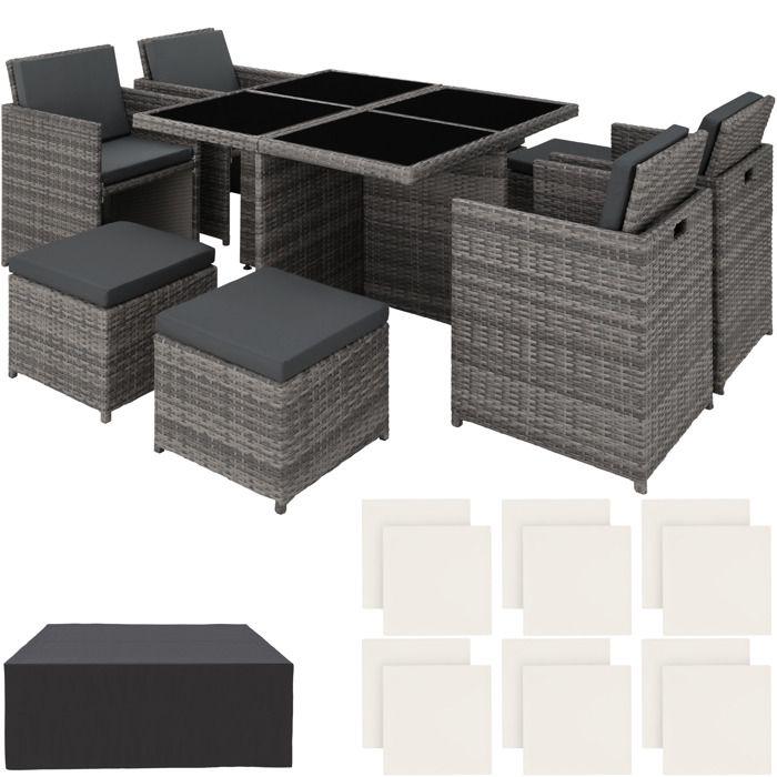 TECTAKE Salon de jardin MANHATTAN - 4 Chaises 4 Tabourets 1 Table en Résine  Tressée structure Aluminium Gris
