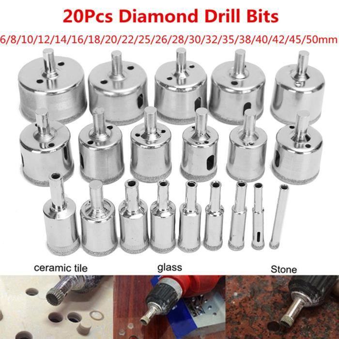 4 pcs Set Diamant-fraise carbure 20 mm 22 mm 25 mm 27 mm Trépan Perceuse Verre Céramique