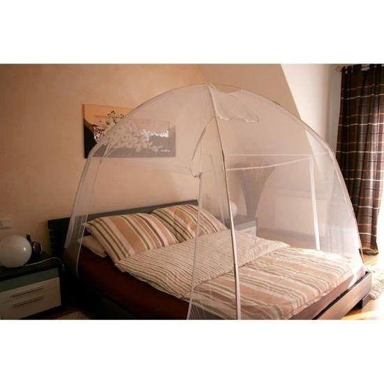 Blanc Moustiquaire Tente de Lit Amovible de Voyage L180 x L200 x H148 cm