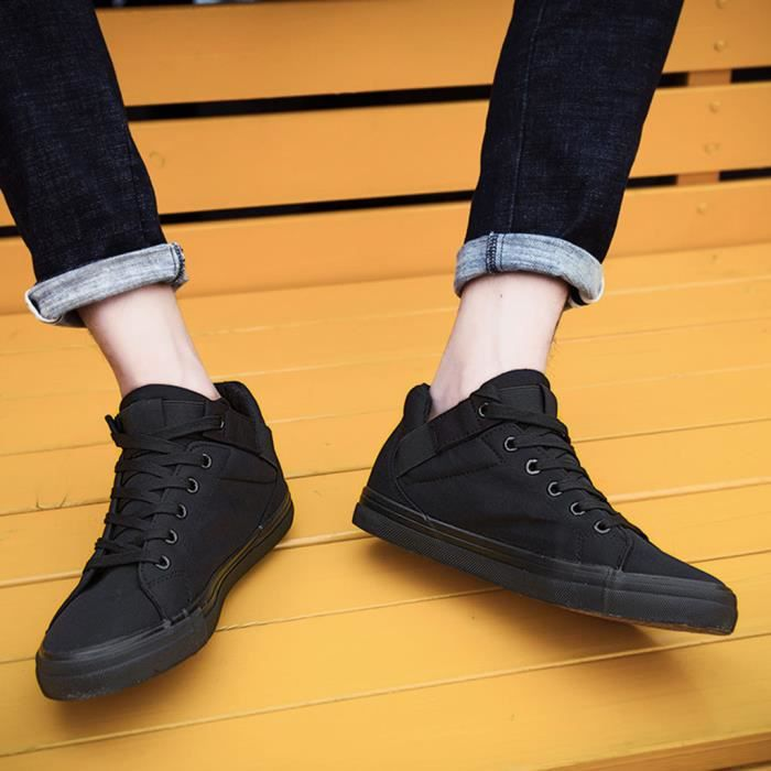 Solides Hommes Up Plates Toile Mode Oisifs Casual Lace Noir Chaussures Sport S87Oqn7wx