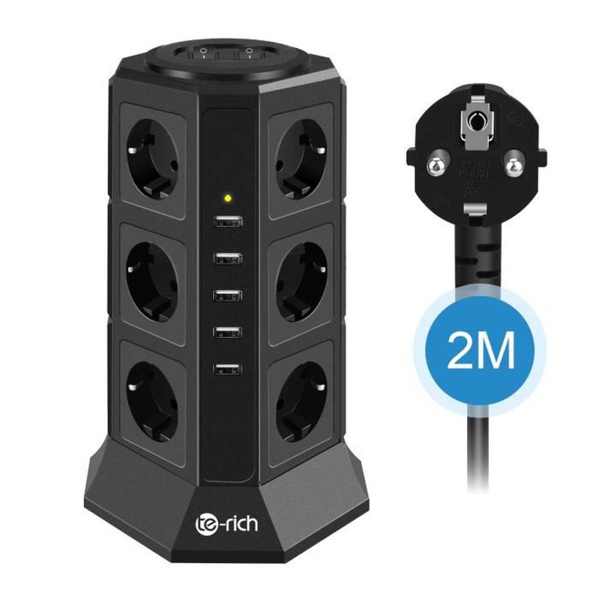 ,... SAFEMORE Tour Multipris avec 15 Prises de Recharge et 2 Ports USB 5V 2,4A